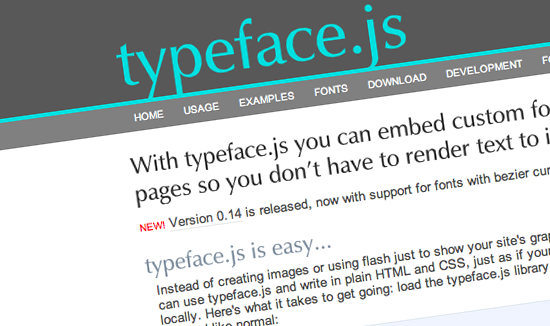typeface.js - Rendering text whith javaScript,  and VML