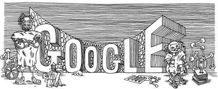 """60 Aniversario de la primera publicación de Stanislaw Lem. Doodle inspirado en las ilustraciones de """"Ciberíada"""" por Daniel Mróz."""